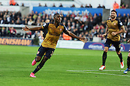 Joel Campbell of Arsenal celebrates after he scores his teams 3rd goal. Barclays Premier league match, Swansea city v Arsenal  at the Liberty Stadium in Swansea, South Wales  on Saturday 31st October 2015.<br /> pic by  Andrew Orchard, Andrew Orchard sports photography.