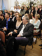 Catherine Bailey and David Bailey. Talk with Manolo Blahnik. Institue of Cervantes. Eaton Sq. 4 April 2002. © Copyright Photograph by Dafydd Jones 66 Stockwell Park Rd. London SW9 0DA Tel 020 7733 0108 www.dafjones.com