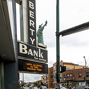 LIberty Bank vintage sign, Chicago, Milwaukee & Fullerton Avenues.