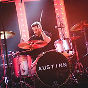 Austinn performing live at the Kulturfabrik concert venue in Luxembourg, Europe on October 28, 2017 for the release of their debut album Appetite