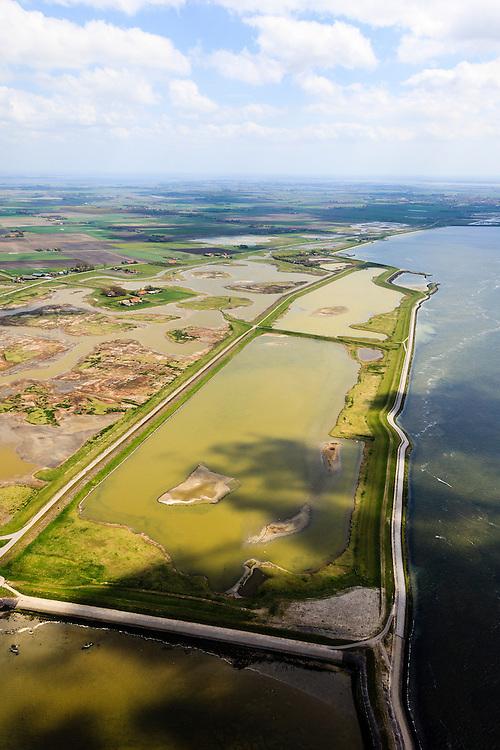 Nederland, Zeeland, Oosterschelde, 09-05-2013; inlagen ten zuiden van Serooskerke. Landinwaarts zijn polders onder water gezet in het kader van Plan Tuureluur. Rechts(onder) de Oosterschelde.<br /> <br /> QQQ<br /> luchtfoto (toeslag op standard tarieven);<br /> aerial photo (additional fee required);<br /> copyright foto/photo Siebe Swart.
