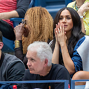 2019 US Open Tennis Tournament- Day Thirteen.    Meghan Markle, Duchess of Sussex watching Serena Williams of the United States losing to Bianca Andreescu of Canada in her team box with Alexis Ohanian, husband of Serena Williams and Oracene Price. mother of Serena Williams in the Women's Singles Final on Arthur Ashe Stadium during the 2019 US Open Tennis Tournament at the USTA Billie Jean King National Tennis Center on September 7th, 2019 in Flushing, Queens, New York City.  (Photo by Tim Clayton/Corbis via Getty Images)