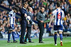 Caretaker Manager Tim Sherwood (ENG) of Tottenham Hotspur throws the ball to Liam Ridgewell (ENG) of West Brom - Photo mandatory by-line: Rogan Thomson/JMP - 07966 386802 - 12/04/2014 - SPORT - FOOTBALL - The Hawthorns Stadium - West Bromwich Albion v Tottenham Hotspur - Barclays Premier League.