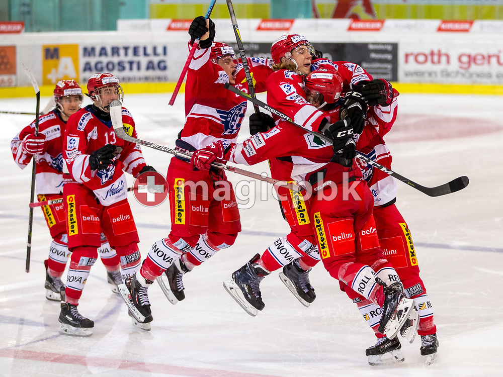 (R-L) Rapperswil-Jona Lakers forward Nico Alena celebrates with his teammates Kilian Liechti (hidden), Kim Lang (#22), Janis Egger (#26), Jonas Graetzer (#13) and Siro Rutzer after scoring the winning goal in the penalty shootout during ice hockey game 3 of the Elite B Playoff Final between Rapperswil-Jona Lakers and EHC Chur Capricorns in Rapperswil, Switzerland, Tuesday, March 13, 2018. (Photo by Patrick B. Kraemer / MAGICPBK)