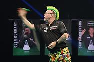 Peter Wright throws during the Unibet PDC Premier League of darts at Marshalls Arena, Stadium MK, Milton Keynes, England. UK on 7 April 2021.