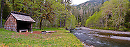 Harps shelter along the South Fork of the Skokomish River in the Olympic National Forest, Washington, USA panorama
