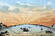 The Atlantic Telegraph: idealised view of cable passing under the ocean from Valentia, Ireland to Trinity Bay, Newfoundland. Chromolithograph c1878