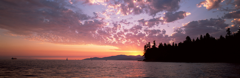 Second Beach sunset with clouds and Stanley park