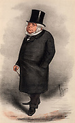 John Bright (1811-1889) British radical orator and statesman, born in Rochdale, Lancashire of Quaker parents.  First elected as a Member of Parliament in 1843.  Supported the Anti-Corn Law League, and the Reform Act of 1867. Cartoon by 'Ape' (Carlo Pellegrini - 1838-1889) from 'Vanity Fair' (London, 13 February 1869).  Chromolithograph.