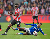 Brentford's Frank Onyeka (left) and Leicester City's Youri Tielemans (right) <br /> <br /> Photographer David Horton/CameraSport<br /> <br /> The Premier League - Brentford v Leicester City - Sunday 24th October 2021 - Brentford Community Stadium - Brentford<br /> <br /> World Copyright © 2021 CameraSport. All rights reserved. 43 Linden Ave. Countesthorpe. Leicester. England. LE8 5PG - Tel: +44 (0) 116 277 4147 - admin@camerasport.com - www.camerasport.com