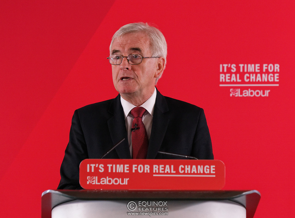 London, United Kingdom - 9 December 2019<br /> John McDonnell gives an economics speech in the run up to the general election 2019, on behalf of the Labour Party at Coin Street Community Builders, London, England, UK.<br /> (photo by: EQUINOXFEATURES.COM)<br /> Picture Data:<br /> Photographer: Equinox Features<br /> Copyright: ©2019 Equinox Licensing Ltd. +443700 780000<br /> Contact: Equinox Features<br /> Date Taken: 20191209<br /> Time Taken: 11102459<br /> www.newspics.com