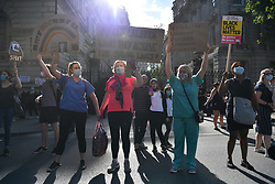 © Licensed to London News Pictures. 29/07/2020. London, UK. NHS workers and supporters take part in a demonstration demanding a pay rise for the 20% pay cut since 2010. Photo credit: Ray Tang/LNP