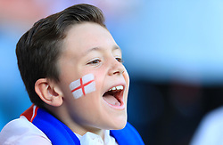 An England fan in facepaint sings his support during the International Friendly match at Elland Road, Leeds.