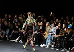 Models during the Preen Autumn/Winter 2017 London Fashion Week show at QEII Centre, London. PRESS ASSOCIATION. Picture date: Sunday February 19, 2017. Photo credit should read: Isabel Infantes/PA Wire