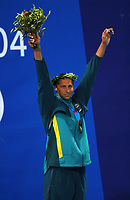 Ian Thorpe (Australia) with his 200m Freestyle Gold Medal.  Swimming, Athens Olympics, 16/08/2004. Credit: Colorsport / Andrew Cowie DIGITAL FILE ONLY