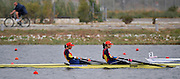 Marathon, GREECE,  ROM W2-, Bow, Georgeta DAMIAN-ANDRUNACHE and Viorica SUSANU. winning the final of the women's pairs at the FISA European Rowing Championships.  Lake Schinias Rowing Course, SAT. 20.09.2008  [Mandatory Credit Peter Spurrier/ Intersport Images] , Rowing Course; Lake Schinias Olympic Rowing Course. GREECE