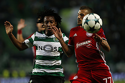 November 22, 2017 - Lisbon, Portugal - Sporting's forward Gelson Martins (L) vies for the ball with Olympiakos's defender Diogo Figueiras (R)  during Champions League 2017/18 match between Sporting CP vs Olympiakos Piraeus, in Lisbon, on November 22, 2017. (Credit Image: © Carlos Palma/NurPhoto via ZUMA Press)