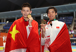 JAKARTA, Aug. 24, 2018  Gold medalist Sun Yang (L) of China and bronze medalist Ji Xinjie of China pose for pictures after the awarding ceremony of men's 1500m freestyle final of swimming at the 18th Asian Games in Jakarta, Indonesia, Aug. 24, 2018. (Credit Image: © Fei Maohua/Xinhua via ZUMA Wire)