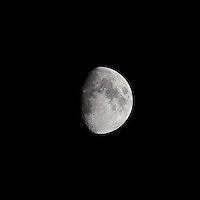 Waxing Gibbous Moon (75%). Autumn Night in New Jersey. Image taken with a Nikon D3s and 600 mm f/4 VR lens.  (ISO 200, 600 mm, f/11, 1/100 sec).