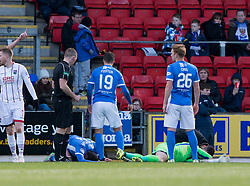 St Johnstone's sub keeper Zander Clark injured in this clash with his own player Joe Shaughnessy. St Johnstone 2 v 4 Ross County. SPFL Ladbrokes Premiership game played 19/11/2016 at St Johnstone's home ground, McDiarmid Park.