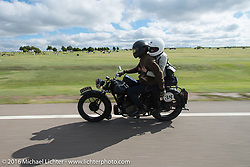 Alan Stulberg of Revival Cycles (Austin) riding Bryan Bossier's 1933 Brough Superior 11-50 during Stage 8 of the Motorcycle Cannonball Cross-Country Endurance Run, which on this day ran from Junction City, KS to Burlington, CO., USA. Saturday, September 13, 2014.  Photography ©2014 Michael Lichter.