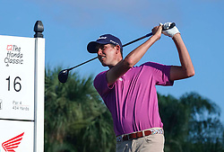 February 28, 2019 - Florida, U.S. - Chesson Hadley tees off on the 16th hole during the first round of The Honda Classic Thursday, February 28, 2019 at the PGA National Resort & Spa in Palm Beach Gardens. (Credit Image: © Bruce R. Bennett/The Palm Beach Post via ZUMA Wire)