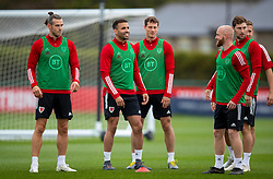 CARDIFF, WALES - Wednesday, September 2, 2020: Wales' captain Gareth Bale, Hal Robson-Kanu, Tom Lawrence and Jonathan Williams during a training session at the Vale Resort ahead of the UEFA Nations League Group Stage League B Group 4 match between Finland and Wales. (Pic by David Rawcliffe/Propaganda)