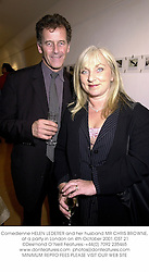 Comedienne HELEN LEDERER and her husband MR CHRIS BROWNE, at a party in London on 4th October 2001.OST 21