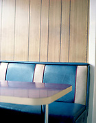 A retro blue and white leather bench seat a Stadium Diner just off the A1 on the 21st April 2010 in Colsterworth in the United Kingdom.