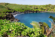 Honokalani Black Sand Beach at Wainapanapa State Park on Maui, Hawaii