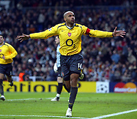 Photo: Chris Ratcliffe.<br />Real Madrid v Arsenal. UEFA Champions League. 2nd Round, 1st Leg. 21/02/2006. <br />Thierry Henry of Arsenal celebrates scoring the first goal.
