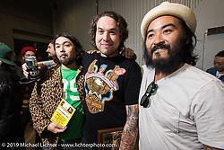 Grant Peterson of Born Free and Kosuke Saito of Sunrise Cycles at the annual Mooneyes Yokohama Hot Rod and Custom Show. Japan. Sunday, December 7, 2014. Photograph ©2014 Michael Lichter.