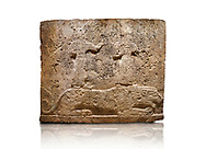 Hittite relief sculpted orthostat stone panel of Long Wall Limestone, Karkamıs, (Kargamıs), Carchemish (Karkemish), 900-700 B.C. Anatolian Civilisations Museum, Ankara, Turkey<br /> <br /> Two figures lying over the lion. There is a crescent at the head of the winged god at the front. It is thought that the figure at the front is moon god and the one at the rear is sun god. <br /> <br /> On a White Background. .<br />  <br /> If you prefer to buy from our ALAMY STOCK LIBRARY page at https://www.alamy.com/portfolio/paul-williams-funkystock/hittite-art-antiquities.html  - Type  Karkamıs in LOWER SEARCH WITHIN GALLERY box. Refine search by adding background colour, place, museum etc.<br /> <br /> Visit our HITTITE PHOTO COLLECTIONS for more photos to download or buy as wall art prints https://funkystock.photoshelter.com/gallery-collection/The-Hittites-Art-Artefacts-Antiquities-Historic-Sites-Pictures-Images-of/C0000NUBSMhSc3Oo