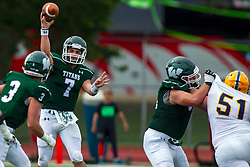BLOOMINGTON, IL - September 28:  Brandon Bauer makes a pass from the pocket during a college football game between the IWU Titans and the Augustana Vikings on September 28 2019 at Wilder Field in Tucci Stadium in Bloomington, IL. (Photo by Alan Look)