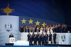 Team Europe captain Thomas Bjorn makes a speech with Team Europe and their wives and girlfriends behind during the Ryder Cup Opening Ceremony at Le Golf National, Saint-Quentin-en-Yvelines, Paris.