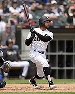 CHICAGO - JUNE 01:  Leury Garcia #26 of the Chicago White Sox bats against the Cleveland Indians on June 1, 2019 at Guaranteed Rate Field in Chicago, Illinois.  (Photo by Ron Vesely)  Subject:  Leury Garcia