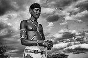 A portrait of a Samburu warrior, black and white,,Samburu, Kenya, Africa