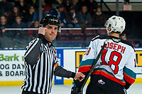 KELOWNA, BC - DECEMBER 30:  Referee Steve Papp makes a call at the Kelowna Rockets against the Prince George Cougars at Prospera Place on December 30, 2019 in Kelowna, Canada. (Photo by Marissa Baecker/Shoot the Breeze)