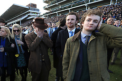 Racegoers react during St Patrick's Thursday of the 2018 Cheltenham Festival at Cheltenham Racecourse. PRESS ASSOCIATION Photo. Picture date: Thursday March 15, 2018. See PA story RACING Cheltenham. Photo credit should read: Mike Egerton/PA Wire. RESTRICTIONS: Editorial Use only, commercial use is subject to prior permission from The Jockey Club/Cheltenham Racecourse.