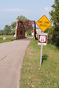 One Lane Bridge sign in Oklahoma along Route 66. Missoula Photographer