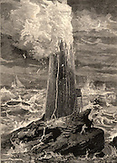 The third Eddystone lighthouse on the Stone 13 miles South-east of Polperro, Cornwall, England. Built by John Rudyerd was first lit in 1709 and destroyed by fire on 2 December 1755. Engraving from 'The Sea' by F Whymper (London, c1890).