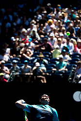 January 21, 2019 - Melbourne, VIC, U.S. - MELBOURNE, AUSTRALIA - JANUARY 21 : Milos Raonic of ÊCanada serves the ball during day 8 of the Australian Open on January 21 2019, at Melbourne Park in Melbourne, Australia.(Photo by Jason Heidrich/Icon Sportswire) (Credit Image: © Jason Heidrich/Icon SMI via ZUMA Press)