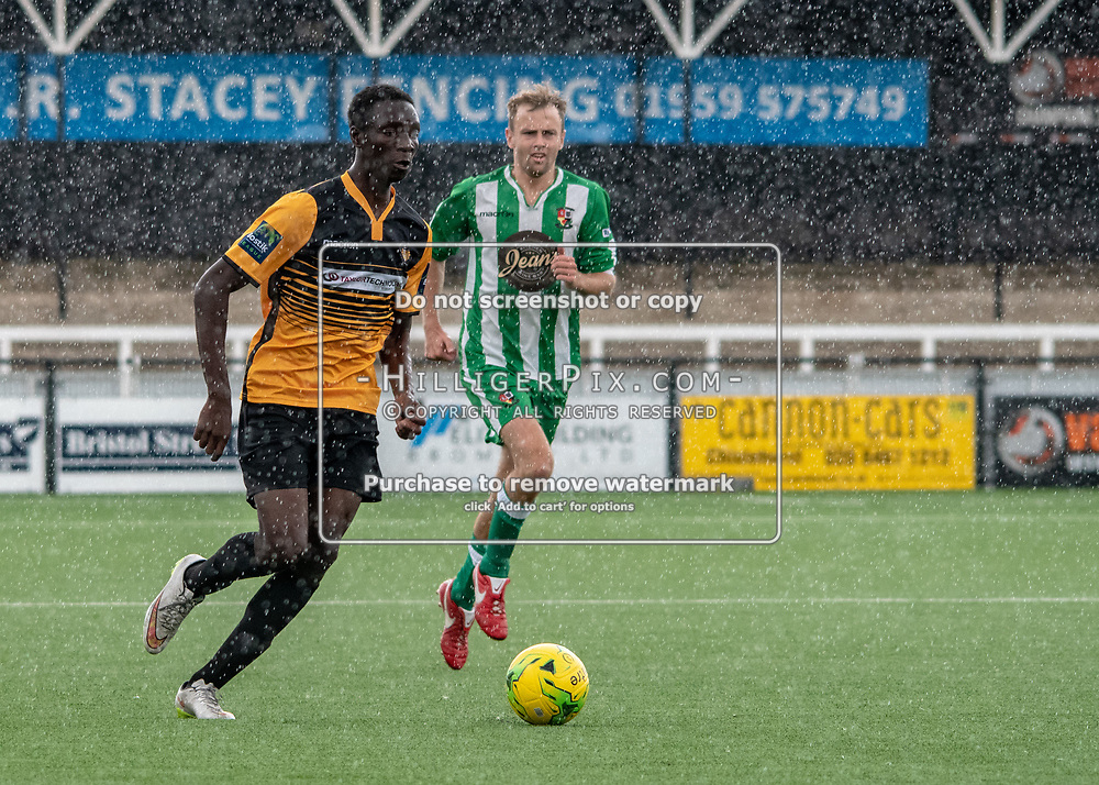 BROMLEY, UK - AUGUST 25: <br /> Malik Solebo (Cray Wanderers) pushes forward in the rain during the FA Cup Preliminary Round match between Cray Wanderers and Rusthall at Hayes Lane on August 25, 2018 in Bromley, UK. (Photo: Jon Hilliger / Cray Wanderers)