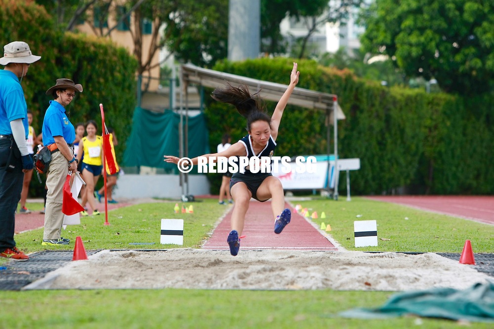 Bishan Stadium, Friday, April 22, 2016 — Tia Louise Rozario of Singapore Sports School leapt an impressive 5.55 metres to win the B Division Girls' long jump gold at the 57th National Schools Track and Field Championships.