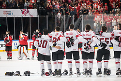 Players of Switzerland listening to the National Anthem after winning during the 2017 IIHF Men's World Championship group B Ice hockey match between National Teams of Canada and Switzerland, on May 13, 2017 in AccorHotels Arena in Paris, France. Photo by Vid Ponikvar / Sportida