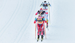 05.12.2015, Nordic Arena, NOR, FIS Weltcup Langlauf, Lillehammer, Damen, im Bild Therese Johaug (NOR), Heidi Weng (NOR), Charlotte Kalla (SWE) // Therese Johaug of Norway, Heidi Weng of Norway, Charlotte Kalla of Sweden during Ladies Cross Country Competition of FIS Cross Country World Cup at the Nordic Arena, Lillehammer, Norway on 2015/12/05. EXPA Pictures © 2015, PhotoCredit: EXPA/ JFK
