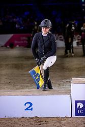 BYTOMSKI Laura (GER)<br /> Siegerehrung<br /> Finale HGW-Bundesnachwuchschampionat der Springreiter <br /> gefördert durch die Horst-Gebers-Stiftung <br /> In Memoriam Debby Winkler<br /> Stilspringen Kl. M*<br /> Nat. style jumping competition Kl. M*<br /> Braunschweig - Classico 2020<br /> 08. März 2020<br /> © www.sportfotos-lafrentz.de/Stefan Lafrentz