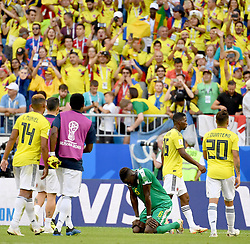 SAMARA, June 28, 2018  Salif Sane (C) of Senegal kneels on the pitch after the 2018 FIFA World Cup Group H match between Colombia and Senegal in Samara, Russia, June 28, 2018. Colombia won 1-0 and advanced to the round of 16. (Credit Image: © Chen Cheng/Xinhua via ZUMA Wire)