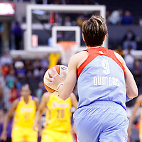 08 August 2014: Atlanta Dream guard Celine Dumerc (9) brings the ball up court during the Los Angeles Sparks 80-77 overtime win over the Atlanta Dream, at the Staples Center, Los Angeles, California, USA.