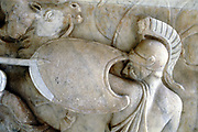 Greek Hoplite in battle against the Amazons (30BC - 200AD?).   Detail from sarcophagus of Roman Imperial epoch. Vatican Museum